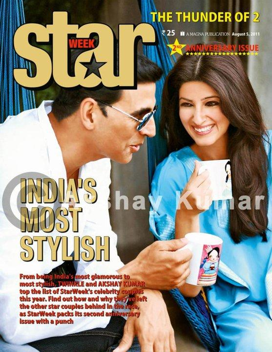Twinkle Khanna - Akshay Kumar n Twinkle on Star week Magazine Cover August 2011 Edition