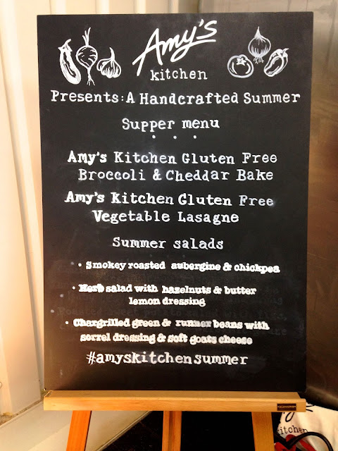 blackboard with menu from Amy's Kitchen
