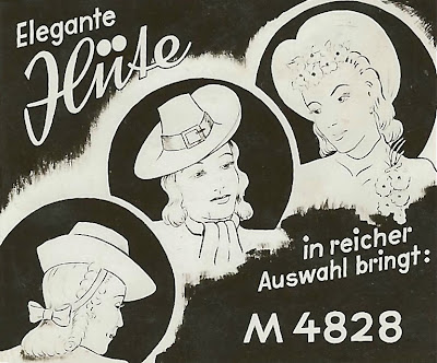 """Historische Kinowerbung als Zeichnung mit drei etwas verwischten Damen. """"Hüte in reicher Auswahl bringt ... """""""