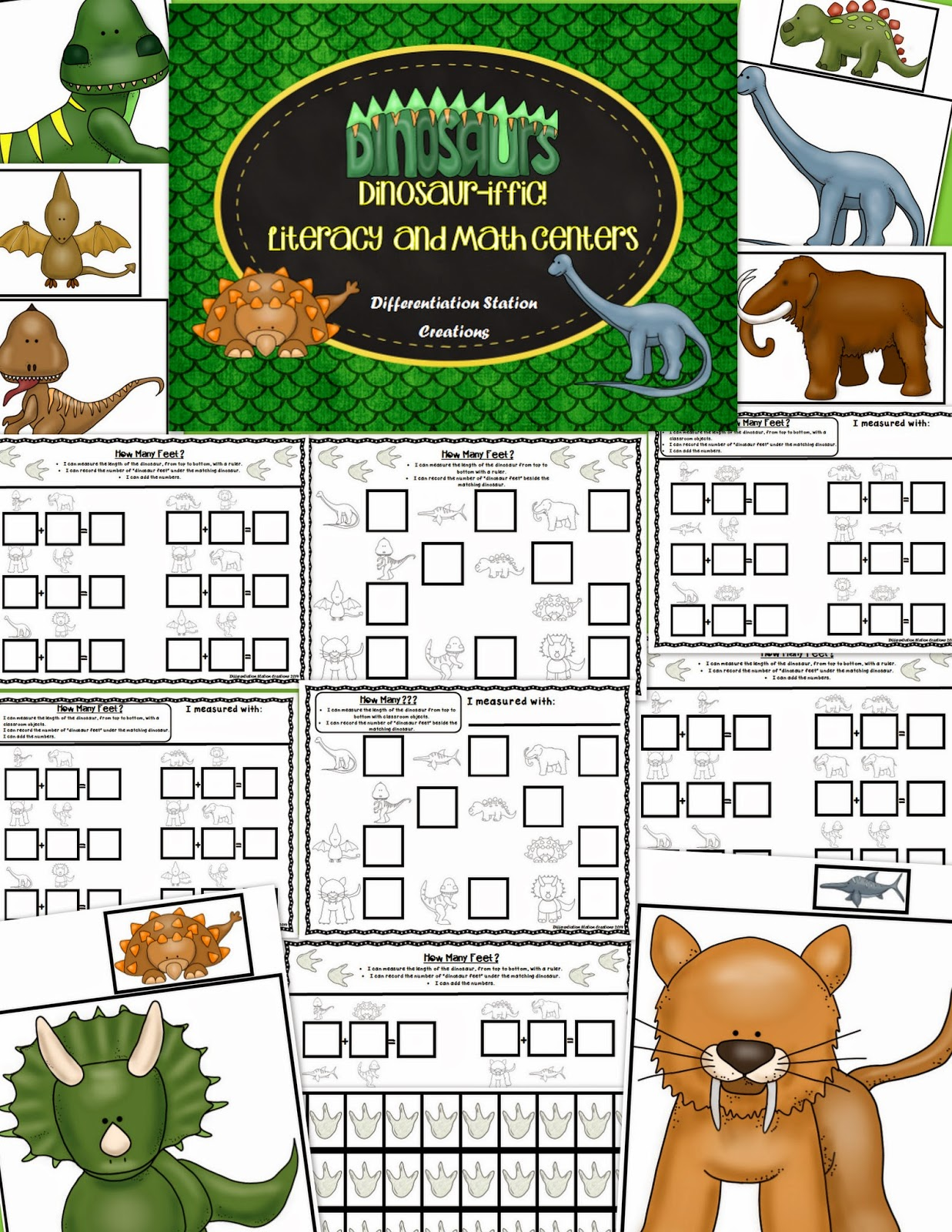 http://www.teacherspayteachers.com/Product/Dinosaur-Math-Centers-Measurement-Addition-Subtraction-Ten-Frames-1269142
