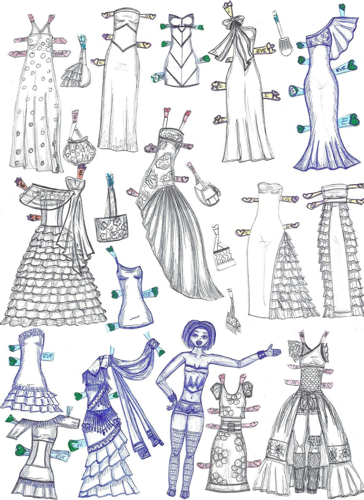 PAPER DOLL EVE A GIRL DREAMS Coloring Pages