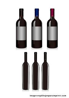 Botellas de vino pequeñas en dibujos