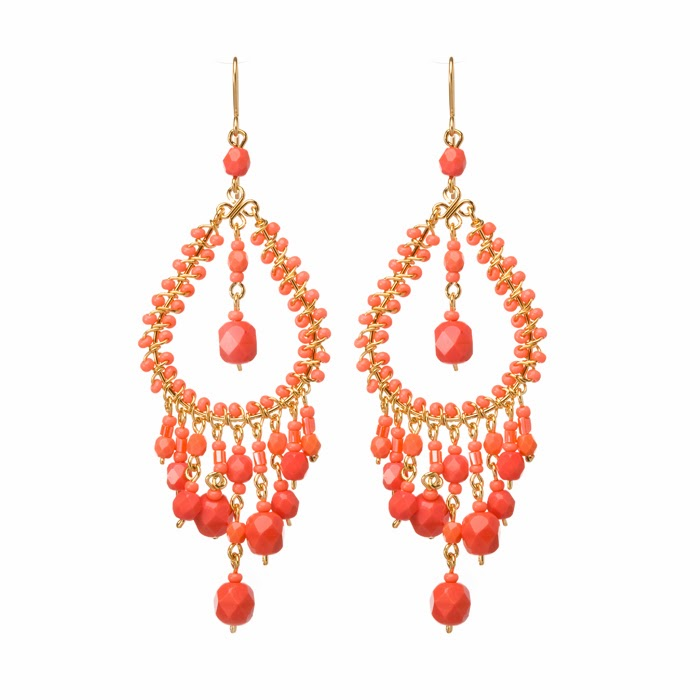 The return of chandelier earrings bead world the coral pieces are all faceted czech firepolish beads and the findings are all hand built from wire 18 gauge for the frame mozeypictures Choice Image