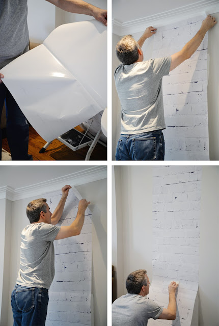 installing removable wallpaper | whitewashed brick | Ramblingrenovators.ca