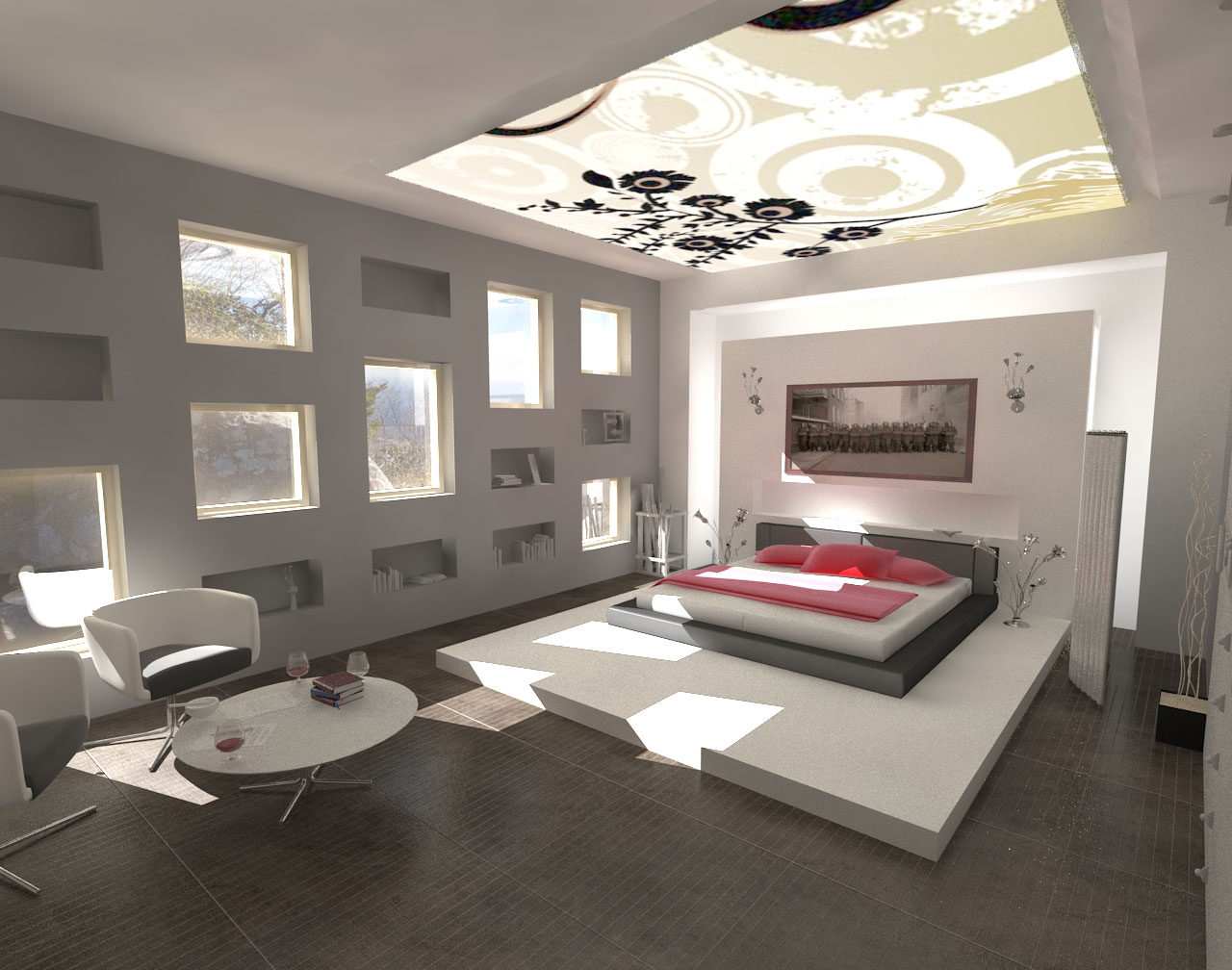 Home furniture modern bedroom lighting for Luxury modern bedroom