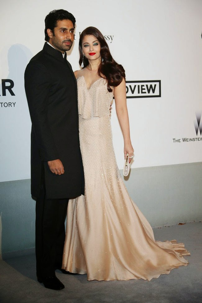 Aishwarya Rai Bachchan and Abhishek bachchan at cannes 2014
