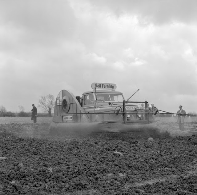Plant demonstration Soil Fertility Limited. Crop spraying Land Rover with hovercraft assist.