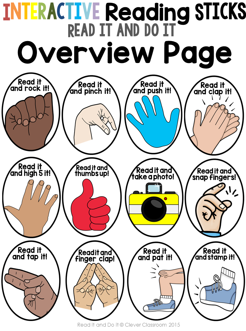 Interactive Reading Sticks - Read it and do it {for any word list}