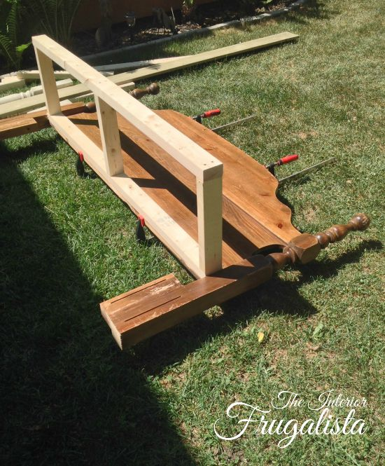 Building a frame for the bench seat and attaching it to the headboard