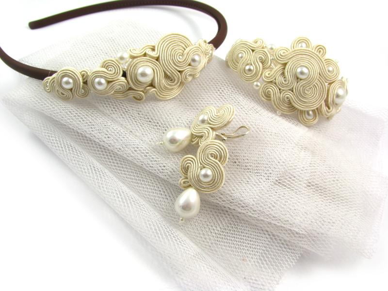Biżuteria ślubna sutasz ecru z perłami