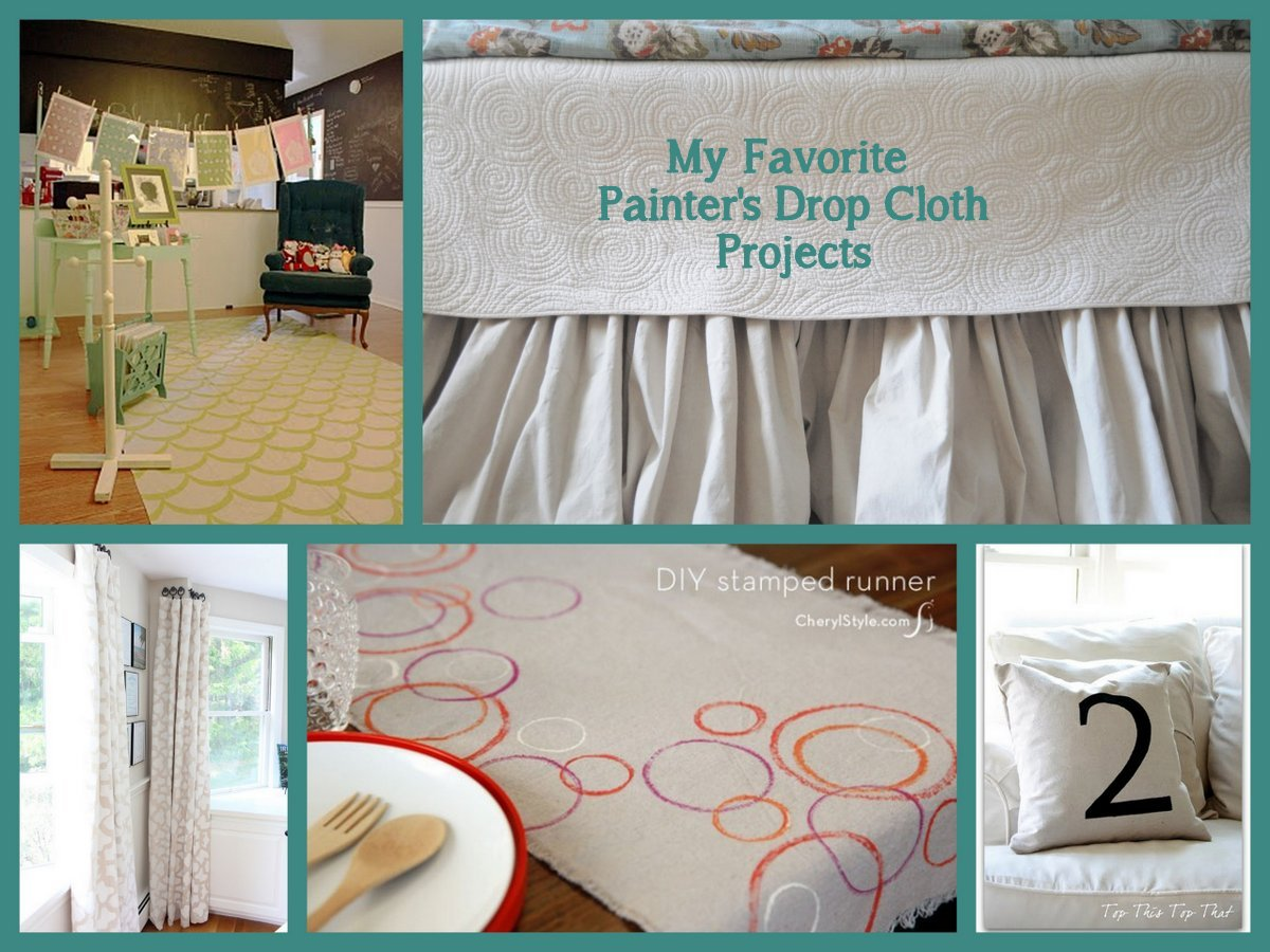 project credits drop cloth rug by gingiber drop cloth bedskirt by between you u0026 me stenciled drop cloth curtains by shine your light table runner by