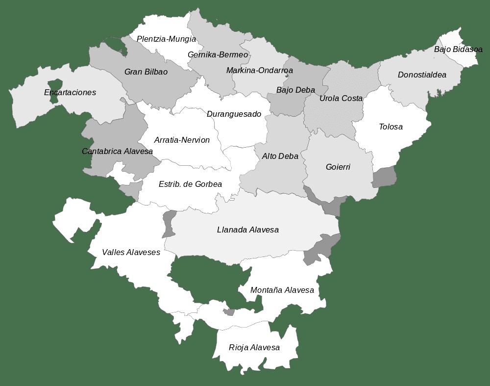 Mapa comarcal de Euskadi para imprimir