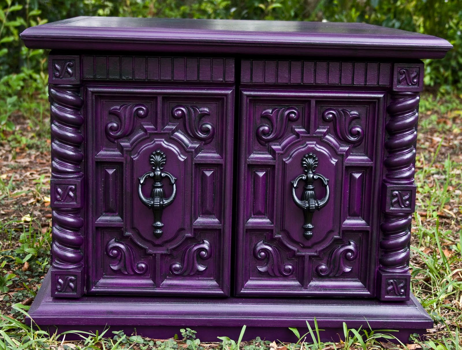 modernly shabby chic furniture purple peacock feather