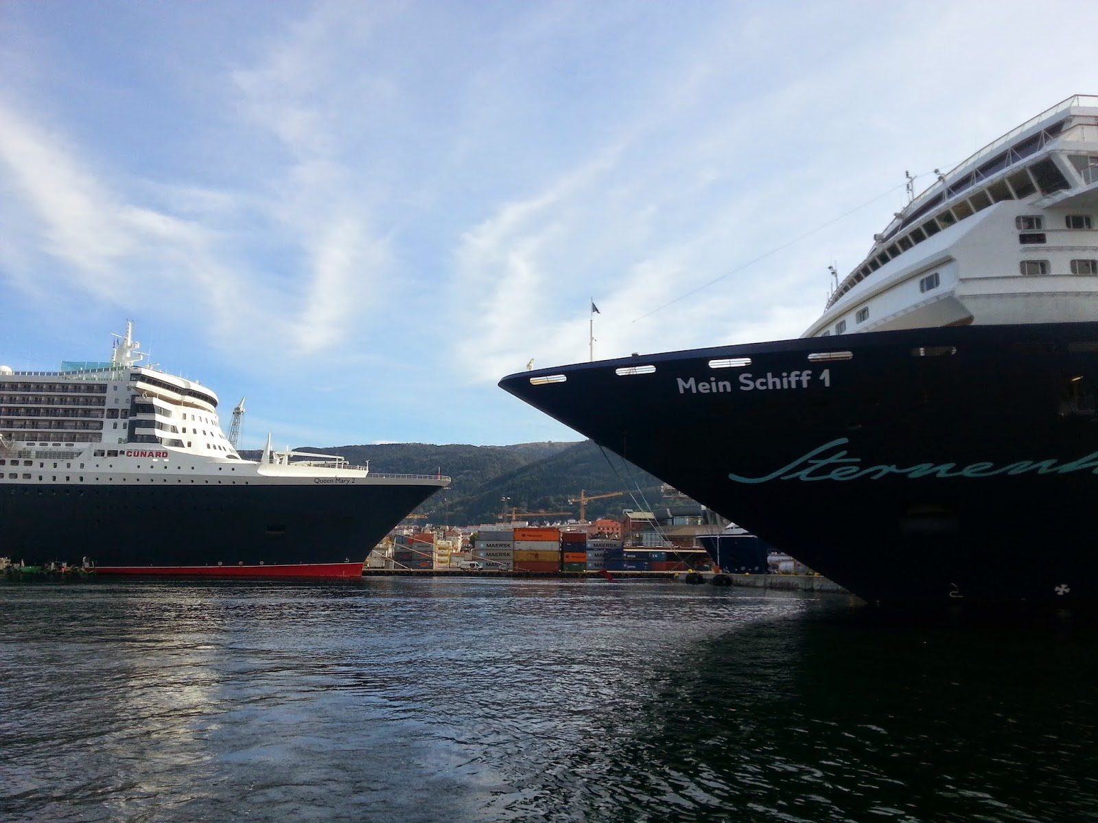 Cruise Ship Mein Schiff 1 and Queen Mary 2 in Bergen