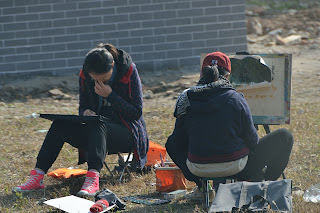 Art students near the Great Wall