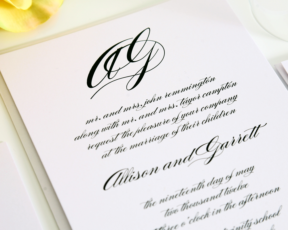monogram wedding invitations2 monogram wedding invitations with