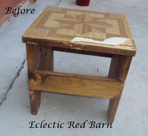 Eclectic Red Barn: Before image of stool with broken tile top