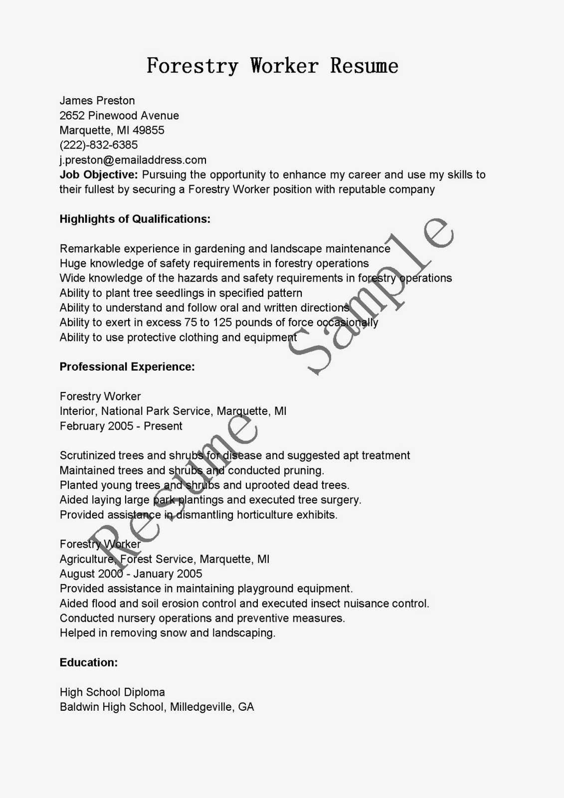 resume sles forestry worker resume sle