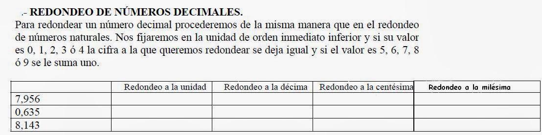 Excelente Decimales Redondeo Hoja De Trabajo Regalo - hojas de ...