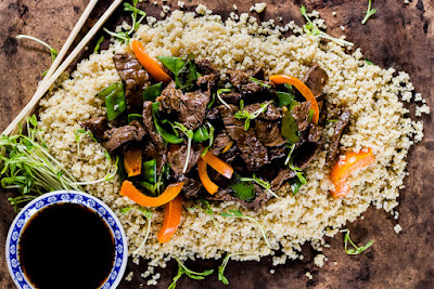 Beef Stir­fry With Peppers + Pea Shoots