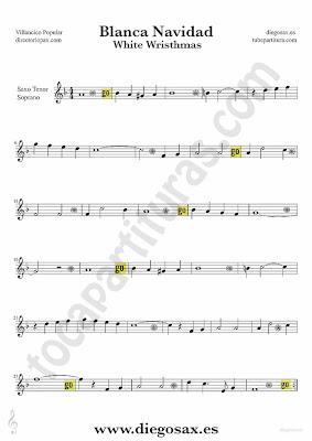 Tubescore White Christmas sheet music for Tenor and Soprano Saxophone Christmas Carol music score