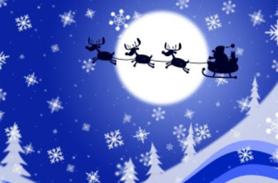 blue sky with stars and snowflakes and Father Christmas on his sleigh flying past the moon
