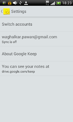 Google Keep: settings menu