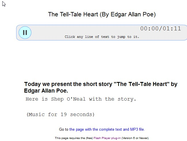 listen and read along - the Tell Tale Heart
