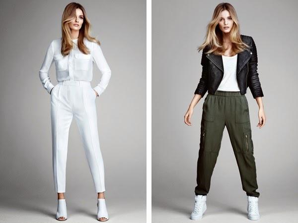 pantalones de moda H&M color blanco y pantalón cargo primavera verano