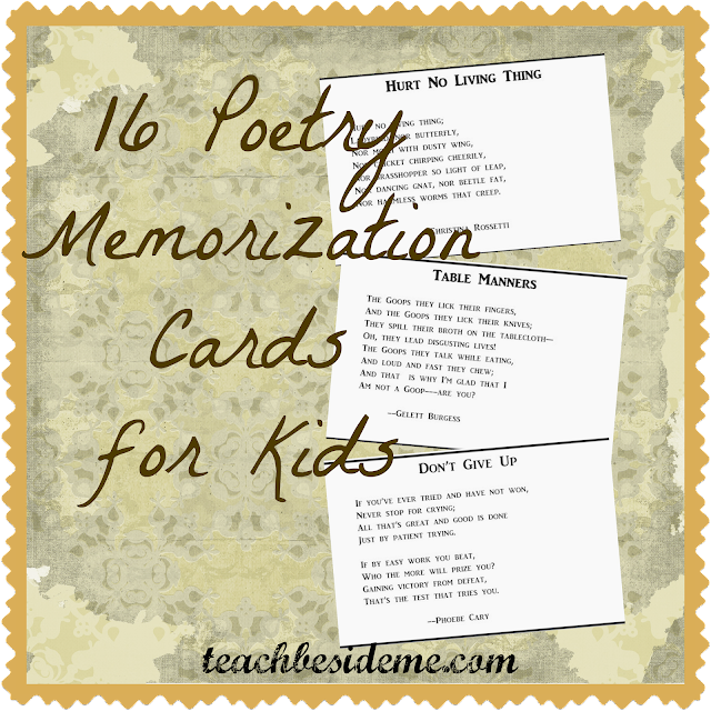 math worksheet : poetry memorization cards for kids  teach beside me : Easy Poems For First Graders To Memorize