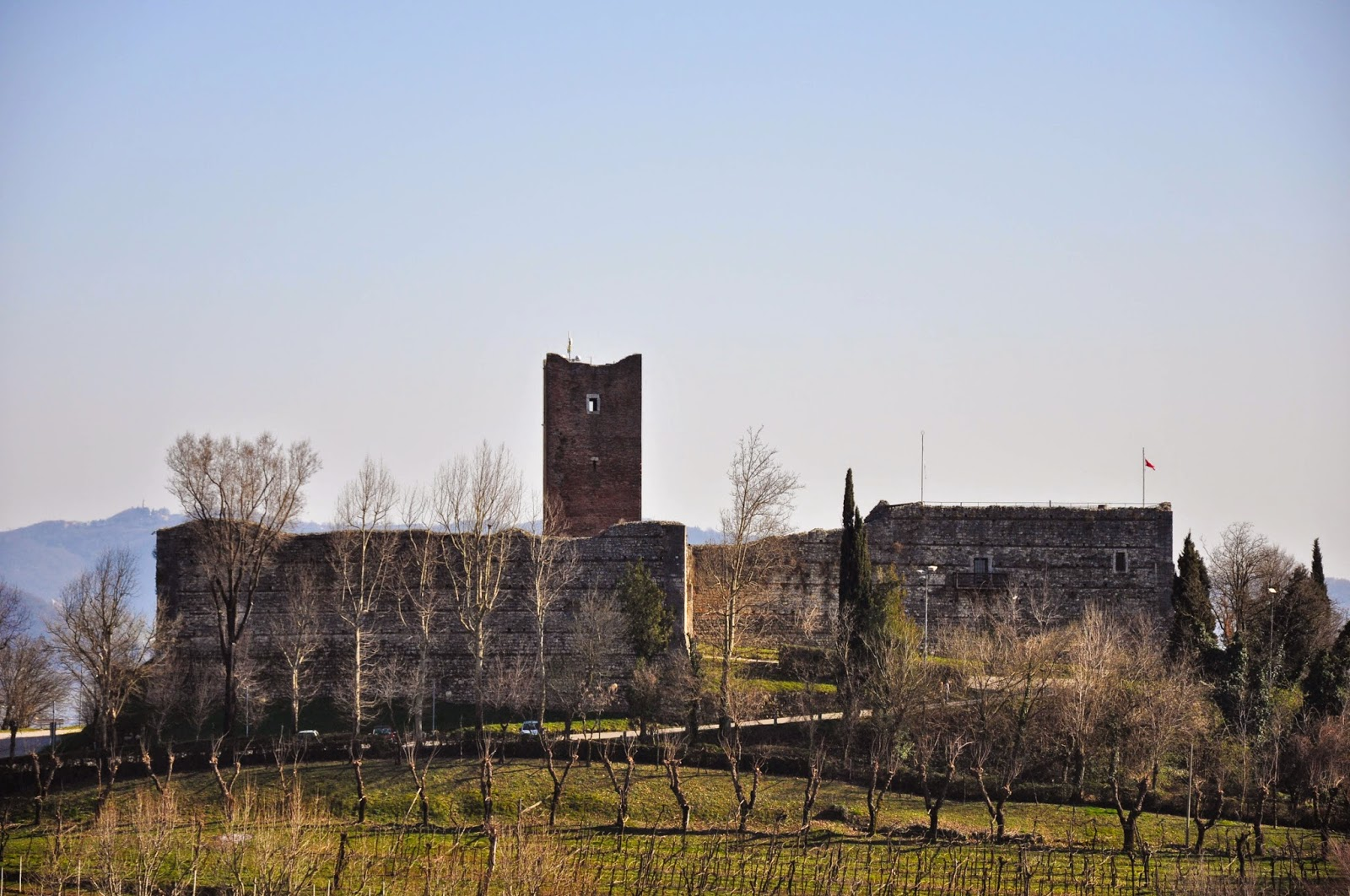 Juliet's Castle seen from the tower of Romeo's Castle, Montecchio Maggiore, Veneto