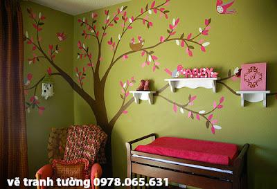Vẽ tranh tường phòng ngủ cổ tích cho bé