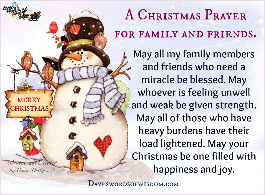 Daveswordsofwisdom a christmas prayer for family friends a christmas prayer for family friends altavistaventures Image collections
