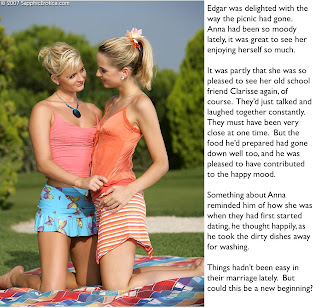 femdom caption of lesbian wife at picnic