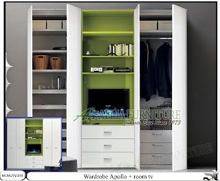 Lemari minimalis model tv unit Apollo