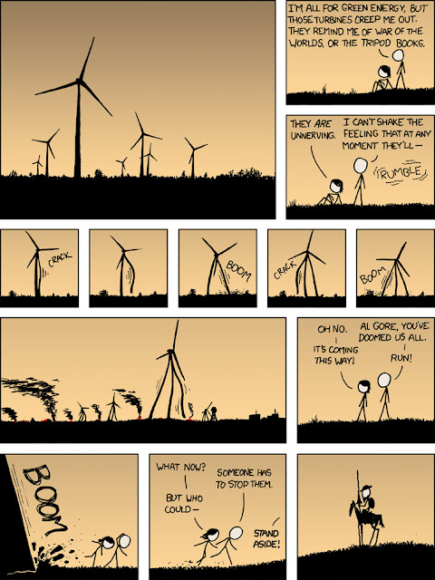 Cartoon: Wind turbines come to life; who will save us?