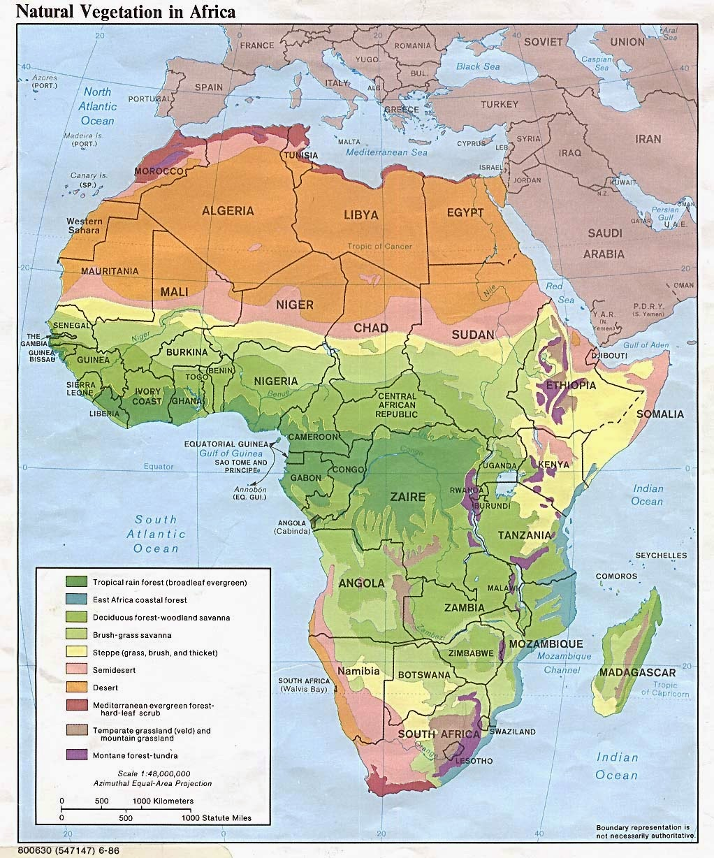Political and physical map of Africa showing borders and country names but also contours and land forms.