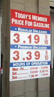 Gas prices for Mar. 6, 2015 at Costco gas station in South San Francisco, CA