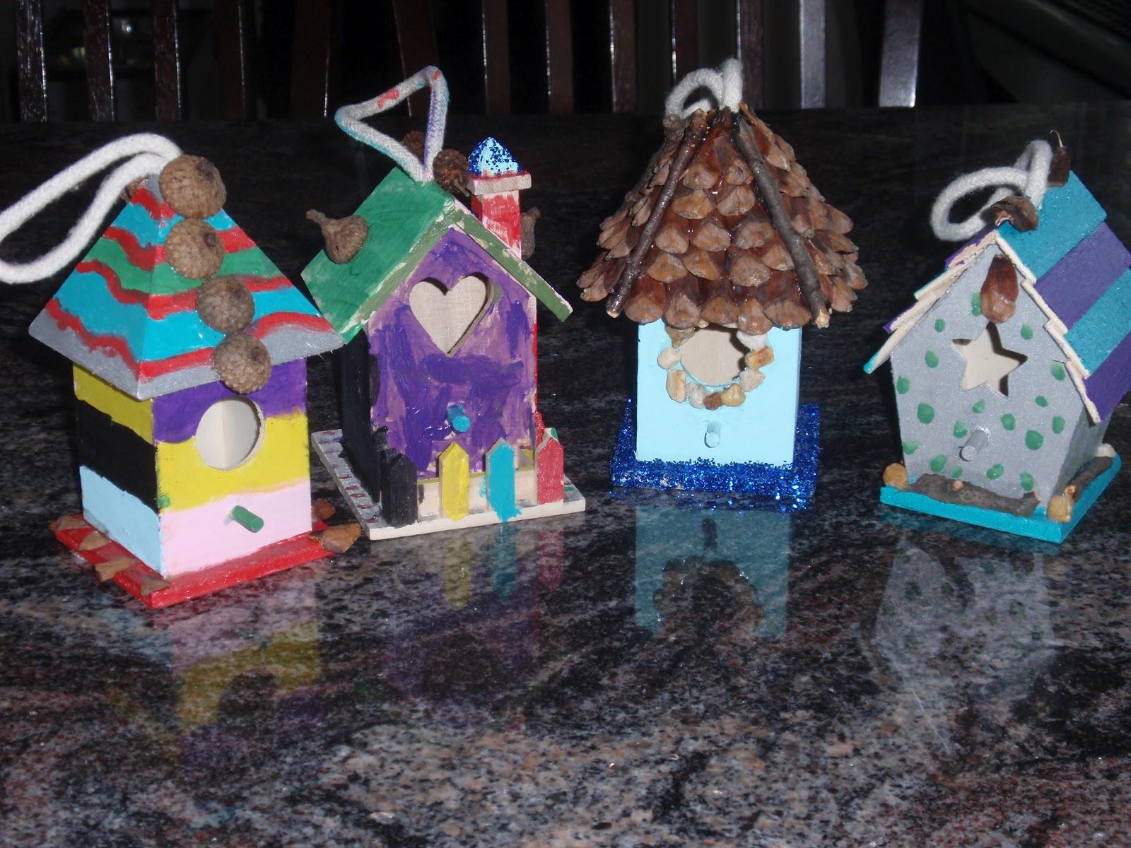 Theresa 39 s mixed nuts diy decorating small bird houses - Decorating with bird houses ...