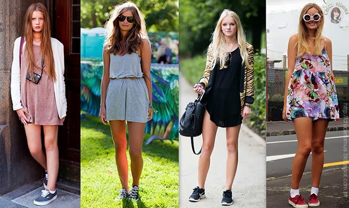 Vestidos lisos ou estampados, todos combinam com tênis.
