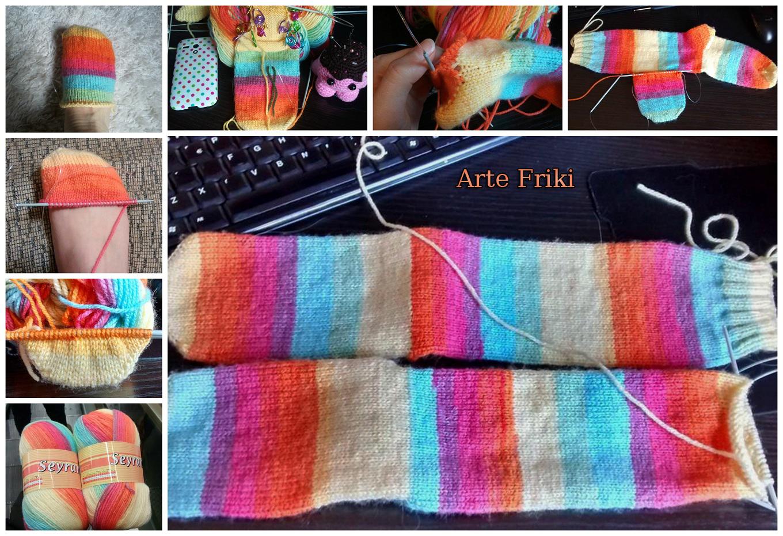 calcetines agujas circulares punto socks knitting circular needle rainbow cute arco iris