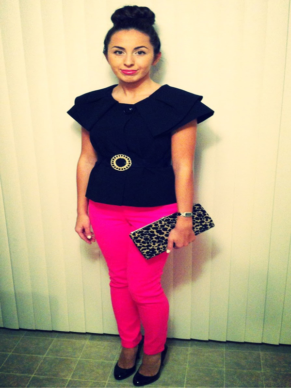 Detailed Shoulder Shirt Peplum Top Hot Pink Skinny Jeans