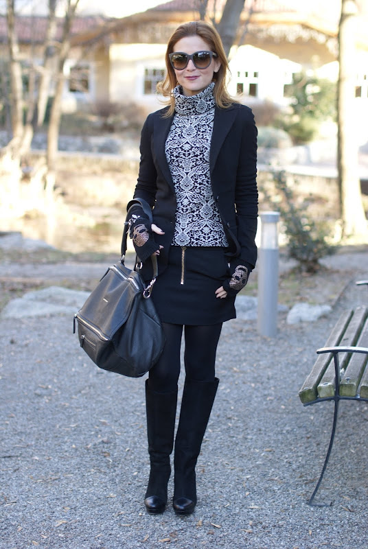 black and white outfit, Maison Scotch miniskirt, Givenchy bag, Scooter Plus sweater
