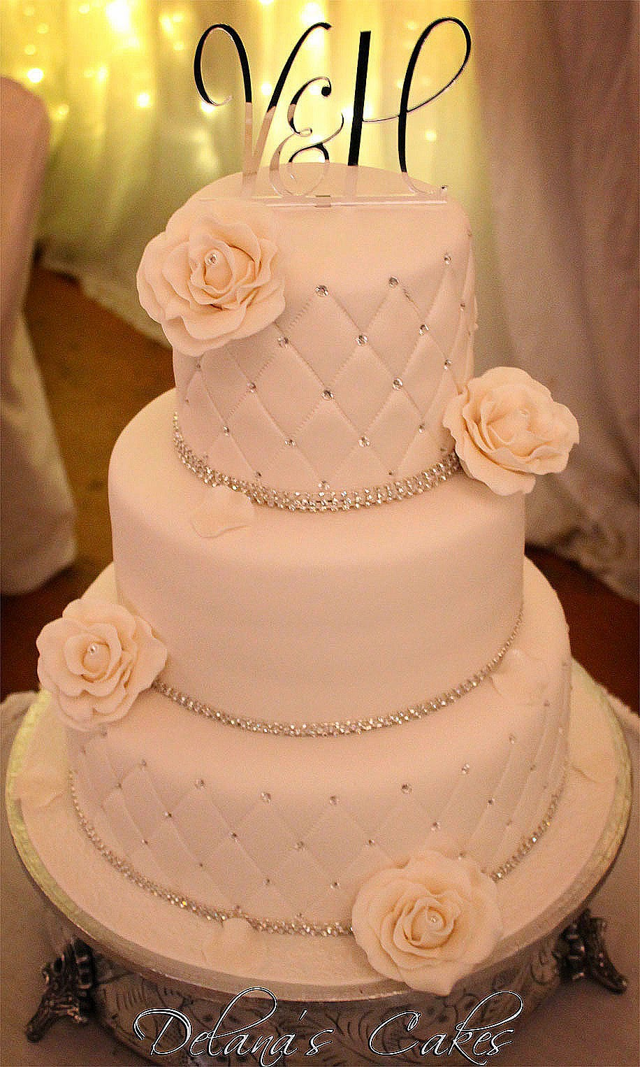 Elegant Diamante Wedding Cake
