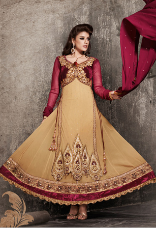 Maroon And Beige Net As Well As Georgette Abaya Style Churidar With Golden Embroidery Neckline