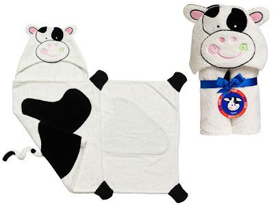 toalha de bebe com capuz - modelo vaquinha