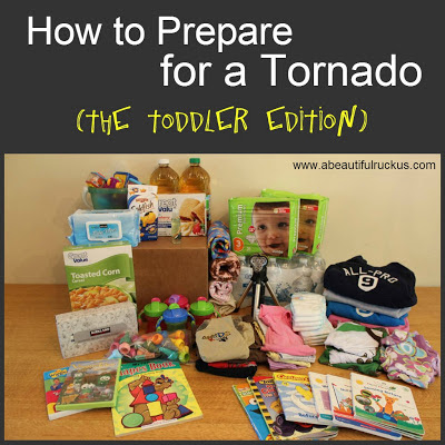 Box of items for toddlers in case of a tornado