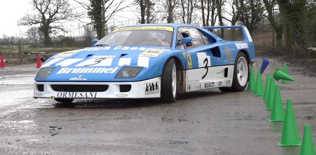 レース仕様の「フェラーリF40 GT」で農場でジムカーナする動画が話題に!
