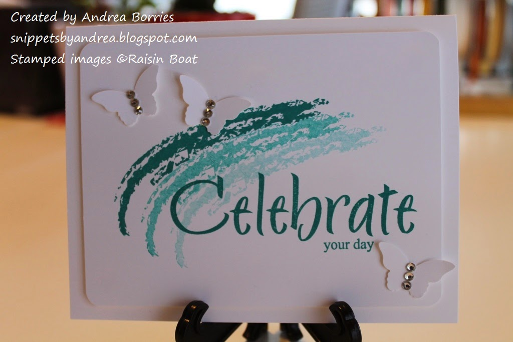 Clean and simple celebration card with white card stock, Bermuda Bay ink and three punched butterflies.