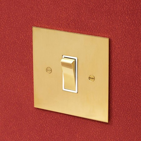 Forbes and Lomax R1GTW/U 1 gang rocker switch in Unlacquered Brass